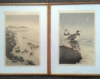 Koson Ohara original japanese woodblock prints x2