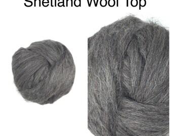 Grey Shetland Wool Top Undyed / Natural Grey Shetland Roving / 2oz 4oz 8oz