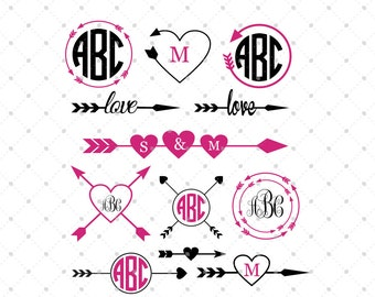 Arrow SVG Cut Files, Arrow Monogram Frames SVG Cut files, cut files for Cricut, Silhouette and other Vinyl Cutters, svg files