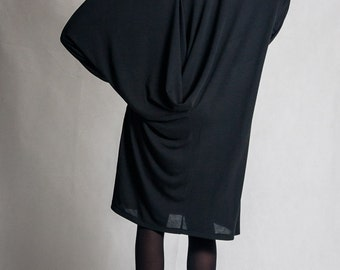 Black viscose oversized dress / Woman's black knee dress / Shapeless long sleeves black dress / Draped back dress / Fasada 1586