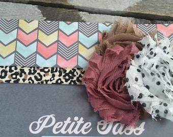Baby Headband -  Rose and Polka Dot Shabby Flower and Leopard Print Headband with - Toddler Headband