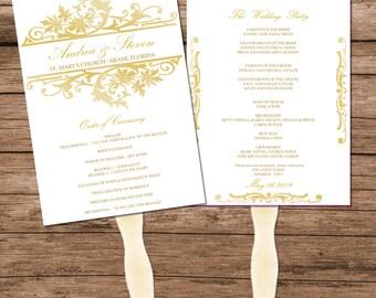 Gold Printable Wedding Program Fan Template, Vintage Design, INSTANT DOWNLOAD, Editable Text & Colors
