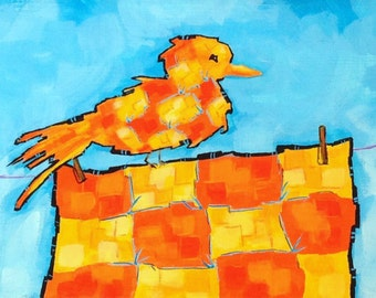 """ORIGINAL whimsical painting, bird painting, quilt painting, acrylic painting, small art, humorous painting, clothesline, clothespins, 20""""x6"""""""