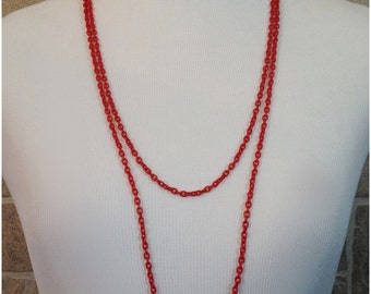 Long red chain necklace