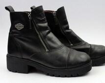 Vintage HARLEY DAVIDSON MOTORCYCLE Black Leather Side Zipper Biker Boots Women's Sz 8 / 8.5