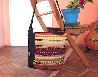 Handmade ladies shoulder bag - boho chic handbag - natural leather and handwoven kilim fabric