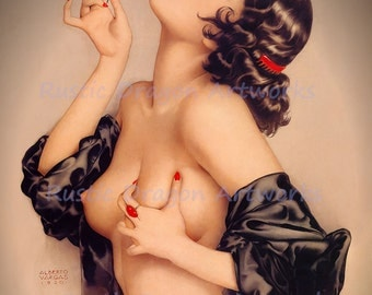 "Alberto Vargas ""Memories of Olive""  1920 Reproduction Digital Print Beautiful Woman holding a FlowerWall Hanging"