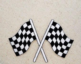 Racing Flag - Black and White Checkered - Embroidered Patch - Iron On Applique - MEDIUM - 151512