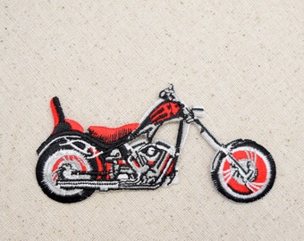 Black and Red - Motorcycle - Iron on Applique - Embroidered Patch - 650488-B