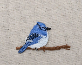 Blue Jay - Bluejay - Facing Right - Sitting on tree branch - Iron on Applique - Embroidered Patch - 1110196-A