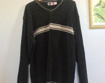 Moss Green Striped Ski Sweater