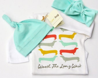 Worth The Wait, Worth The Long Wait, Dachshund Baby Onesie, Doxie Baby Clothes, Dachshund Onesie, Baby Home Outfit, Baby Girl Clothes