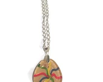 Pendant Necklace - Rainbow Pendant Necklace - Teardrop Necklace - Silver Jewelry