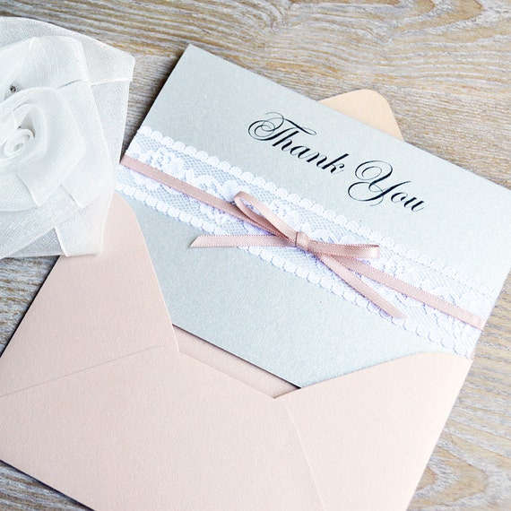 THIN LACE Thank You Cards - Silver Card with White Lace and Blush Bow - Custom Thank You Notes - Blank Inside - Wedding - Bridal Shower