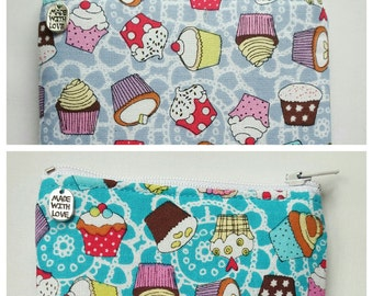 Handmade 'Cute as a Cupcake' Coin Purse/Cotton Fabric/Lilac and Auqa/Turquoise and White