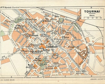 1950 Tournai Belgium Vintage Map