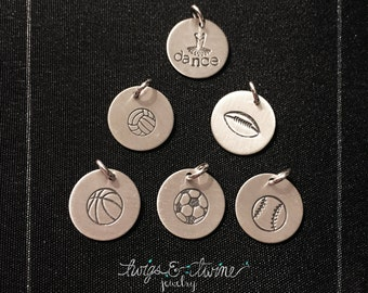 Sports & Activities Charm Collection - Sterling Silver, Hand-Stamped Charms