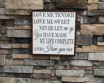 love me tender elvis framed wood sign nursery decor