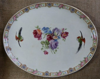 Antique Dressing Table Tray with Pink, Purple, Blue Floral and Bird Pattern / Serving Platter / Cabinet / Collector Plate, Made in England