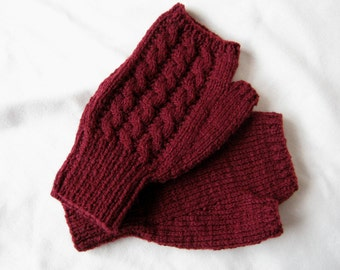 """Hand knitted maroon/burgundy cable fingerless mitts - men's medium size approx 8.5"""" hand - 20% wool"""