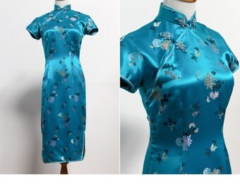 Vintage Chinese Dress • Turquoise Oriental Dress • Cheongsam Dress• Qipao Dress • Oriental dress • Asian Body Con Dress