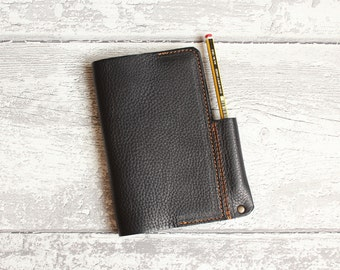 Leather Moleskine Cover - Leather Notebook Cover - chrome tanned leather BLACK - Leather Travel Journal - Travel Wallet