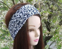 Womans Headbands Blue White Flower printed headband Boho Hippie Wide Headband Hair Band Hair wrap Yoga Hair Accessories Headwrap Headscarf