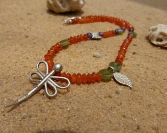 Girl's Carnelian Necklace with Silver Dragonfly Pendant Semi Precious Gemstone Hill Tribe Silver Butterfly Green Garnet Amethyst Leaf