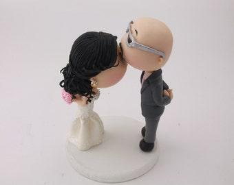 Cute couple forehead kiss. Bald groom with glasses. Wedding cake topper. Handmade. Fully customizable. Unique keepsake