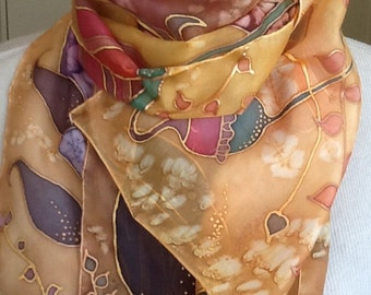 Pure hand-painted silk scarf.