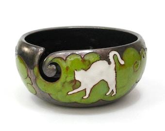 Yarn bowl with Cat, Knitting Bowl, Crochet Bowl, Crochet Storage, Ceramic Yarn Bowl, Pottery Yarn Bowl, Yarn holder, Yarn Bowl, Pottery Bowl