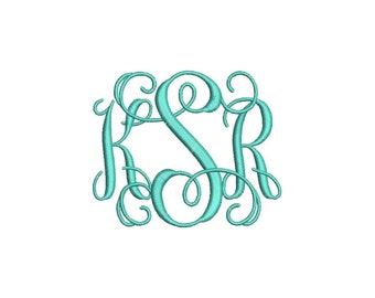 Vine 3 Letter Monogram Font Machine Embroidery Monogram Alphabet Designs 4 Size Bx Embroidery Fonts - INSTANT DOWNLOAD