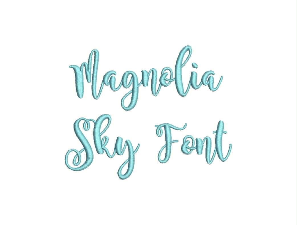 Magnolia sky font embroidery machine