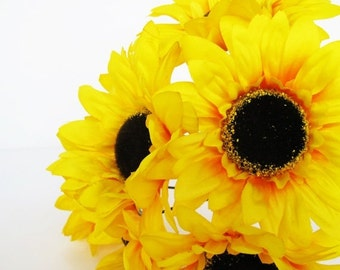 """ON SALE 5 Artificial Silk Flowers Yellow Sunflowers with brown center measuring 5.3"""" Floral Hair Accessories DIY Wedding Flower Supplies Fau"""
