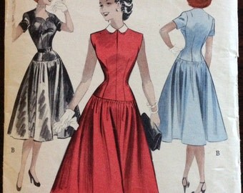 Butterick 6139 - 1950s Dress with Dropped Waist, Flared Skirt, and Shaped Neckline or Peter Pan Collar - Size 12 Bust 30