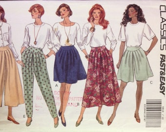Butterick 5810 - 1990s Slit Skirt, Skirt, and Pants with Yoke Front - Size 12 14 16