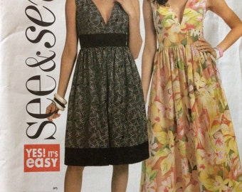 Butterick B5307 - See & Sew Summer Dress with Empire Waist and Deep V Neckline - Size 8 10 12 14