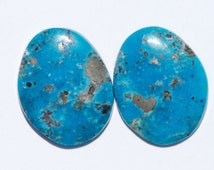 Pair of Natural Turquoise with Pyrite Cabochons, Freeform Ovoid shape 22 x 17mm, 19.55 ct total weight, Cananea, Mexico, C3688