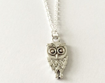 Silver Owl Necklace/Silver Night Owl Necklace/Antique Silver Owl Necklace/Silver Owl Lovers Necklace