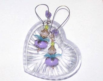 Purple Earrings - Long Light Purple / Lavender / Lucite Flower & Light Green - Flower / Whimsical