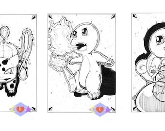 Kanto Starters #001 #004 #007: 8.5x11 Print Set