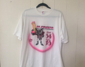 Vintage 90s Alabama Football Airbrushed T-Shirt / 1992 National Championship Tee / Big Al / Made in the USA / Adult Size Extra Large / XL