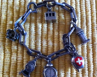 Vintage Swiss Charm Bracelet 800 Silver