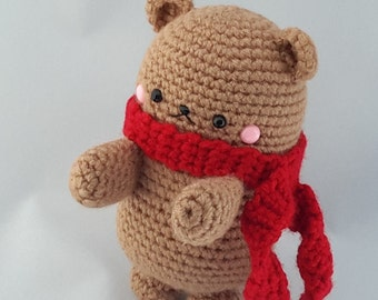 Crochet brown bear with red scarf ( Ready to ship)
