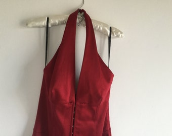 Vintage Shelli Segal for Laundry.  Crimson Satin Halter Neck Dress...