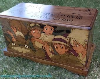 Studio Ghibli/ Hayao Miyazaki Themed Wooden Storage Trunk ( Hand Burned ) 23 x 11.75 x 12.5 (inches).
