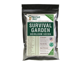15,000 Seed Garden and Vegetable Seed Non-Gmo, Non-Hybrid, 32 Heirloom Seed Variety Kit DIY Gear Gift Emergency Survival