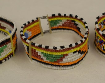 Bracelets African Beaded Masai Colorful Beads Handmade Men Women Cuff Jewelry Red Yellow Blue Beads Bracelets