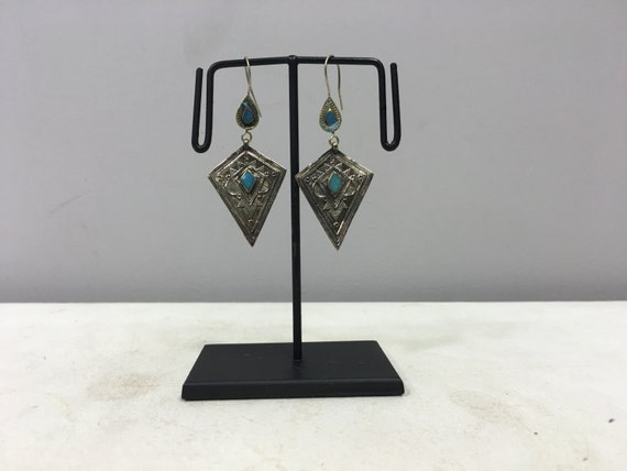 Earrings Silver Middle EasternTurquoise Etched Dangle Silver Handmade Sterling Silver Turquoise Earrings Etched Teardrop Unique E123