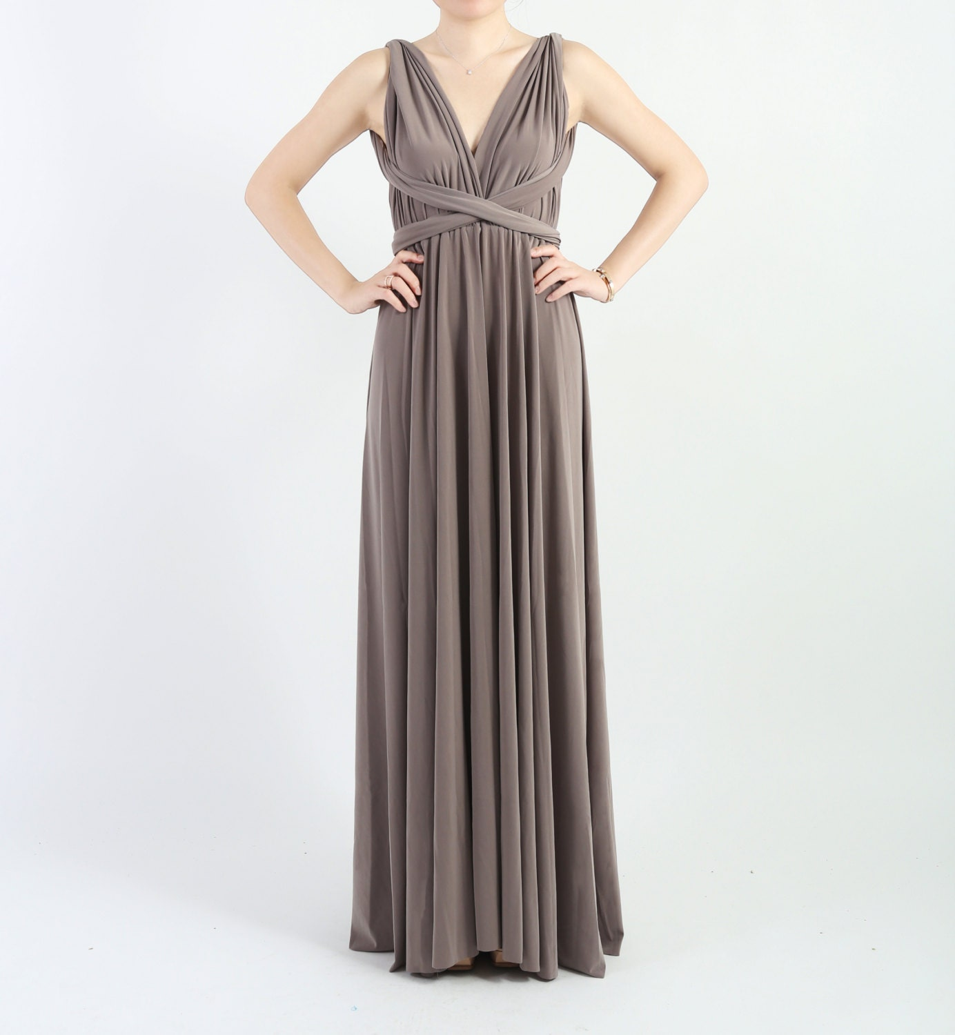 Taupe Long Floor Length Ball Gown Infinity Dress Convertible